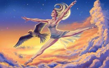 небо, арт, облака, девушка, профиль, птица, волосы, балерина