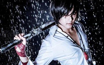 weapons, guy, rain, the game, cosplay, hero warz