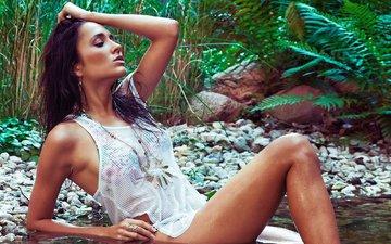 озеро, берег, девушка, брюнетка, модель, тело, мокрая, майка, girl, model, anastasiya avilova