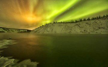 озеро, снег, зима, северное сияние, сша, зарево, аляска, юкон