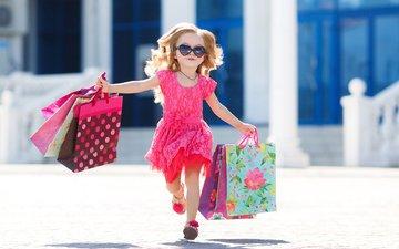 платье, лето, очки, радость, ребенок, бежит, в платье, маленькая девочка, пакеты, little girls