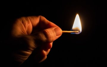 hand, flame, fire, match