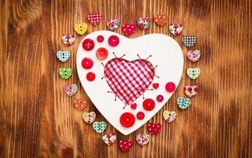 сердце, любовь, сердечки, дерева, влюбленная, пуговицы, деревянные, сердечка