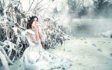 снег, девушка, платье, мороз, холод, замерзла, rozalina yakimenko