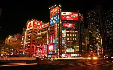 свет, япония, машины, дороги, здания, токио