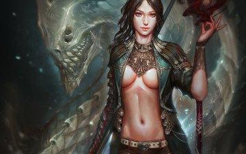 арт, девушка, взгляд, монстр, грудь, магия