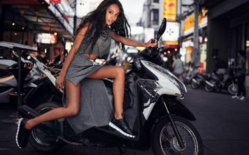 black, girl, legs, beauty, cross, hair, mary senn, scooter
