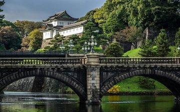 деревья, фонари, река, кусты, мост, япония, дворец, мосты, токио, императорский дворец