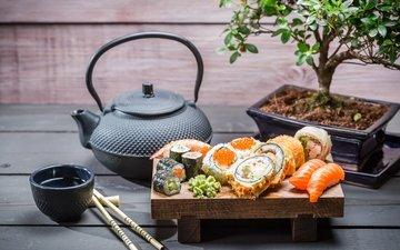 дерево, чайник, суши, роллы, японская кухня, соевый соус, tea tree