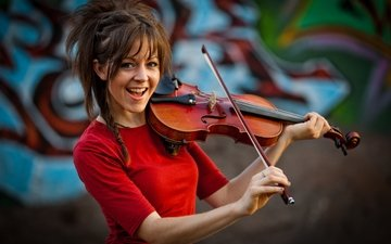 girl, smile, violin, violinist, lindsey stirling, lindsay stirling