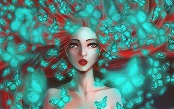 глаза, арт, девушка, взгляд, бабочки, длинные волосы