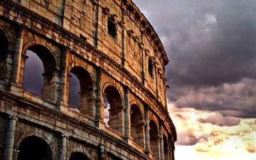 закат, тучи, город, италия, колизей, рим