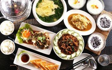 овощи, рис, японская кухня, суп, ассорти, блюда