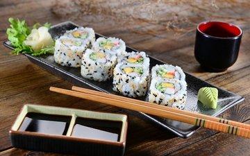 палочки, салат, суши, роллы, японская кухня, имбирь, соевый соус, cалат