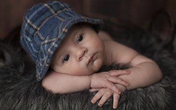 портрет, дети, лицо, ребенок, мальчик, младенец, шапочка, дитя