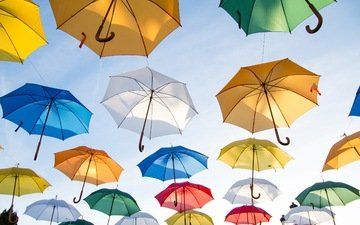 the sky, colorful, beautiful, umbrellas
