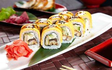 рис, начинка, суши, японская кухня, имбирь, соевый соус