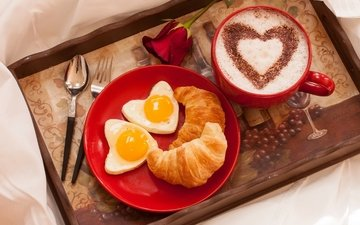 роза, кофе, сердце, любовь, чашка, завтрак, праздник, выпечка, круасан, круассан, цветком, валентинов день, сердечка