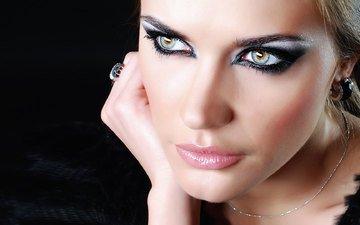 глаза, рука, девушка, модель, кольцо, губы, лицо, макияж, грим, сексапильная, модел