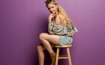 стиль, девушка, очки, стул, ножки, волосы, лицо, сапоги, сумка, изабель