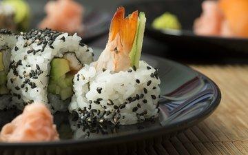 суши, роллы, креветки, креветка, японская кухня