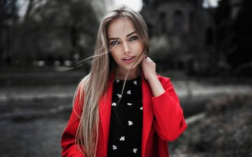 view, girl, red, model, beauty, nice, portait, mary jane, gorokhov, coat