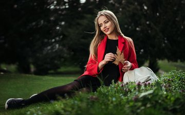 view, grass, girl, model, beauty, nice, portait, mary jane, gorokhov