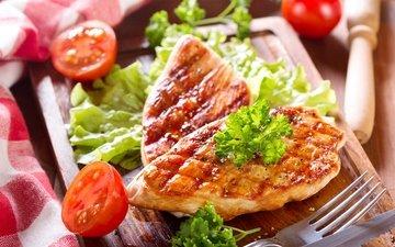 зелень, мясо, помидоры, помидорами, мясные продукты