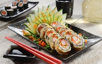 зелень, овощи, суши, роллы, японская кухня, декорация, оформление, greenery