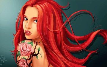 арт, девушка, взгляд, тату, красные волосы