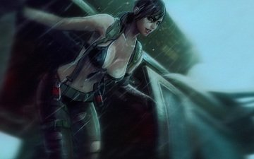 art, girl, sniper, rain, chest, helicopter, metal gear solid, mgs, quiet, konami, stefanie joosten, metal gear solid 5-the phantom pain, kojima productions, hideo kojima