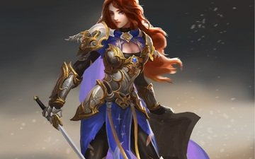 art, girl, warrior, sword, armor, shield, red hair