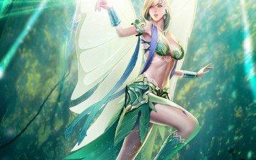 арт, природа, девушка, взгляд, крылья, фея
