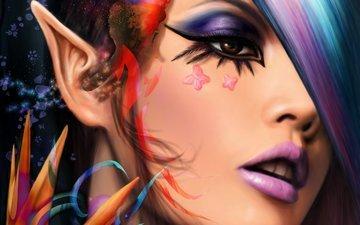 арт, взгляд, лицо, бабочки, уши, макияж, эльфийка