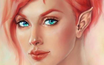 арт, взгляд, лицо, уши, эльф, эльфийка, ресницы