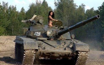 девушка, танк
