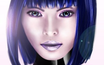 eyes, art, girl, look, hair, cyborg, haircut, cyberpunk
