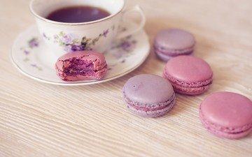 кофе, печенье, десерт, макарун