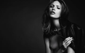 look, black and white, model, hair, lips, topless, black&white, leather jacket, mona johannesson, mona johannsson