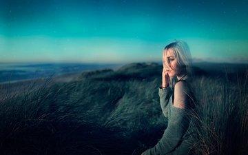 небо, берег, девушка, звезды, грусть, впадины