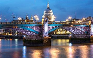 огни, вечер, собор, города, великобритания, лондон, город, англия, подсветка, освещение, британия, святого, столица, велик, павла