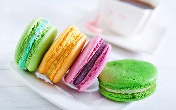 печенье, десерт, макарун, сладенько, миндальное