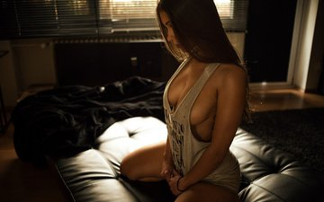 pose, brunette, sitting, chest, photographer, window, mike, blinds, bedroom, on the bed, sexy, miro hofmann