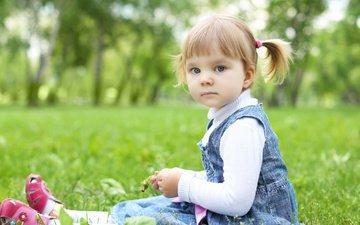 трава, деревья, настроение, парк, дети, девочка, ребенок, детство