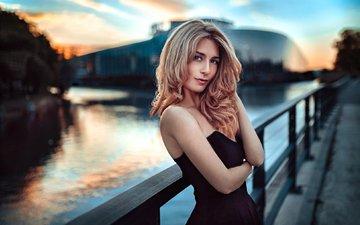 глаза, свет, река, девушка, блондинка, портрет, мост, город, модель, волосы, лицо, мода, natia, природный