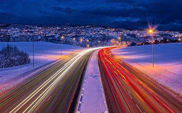 дорога, огни, зима, норвегия, выдержка, roads, норвегии, trondheim