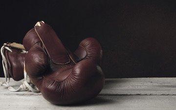 кожа, бокс, перчатки, ветхий