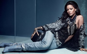 brunette, wall, model, jeans, actress, singer, outfit, makeup, hairstyle, posing, hat, rihanna, cowboy, boots, photoshoot, sitting, on the floor, vogue, craig mcdean, mirror