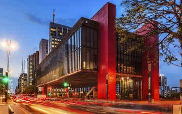 ночь, огни, бразилия, сан-паулу, музей современного искусства