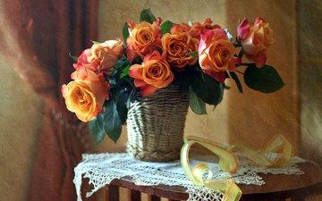 текстура, розы, букет, корзина, лента, салфетка